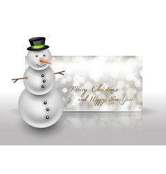Snowman on the christmas greeting card Abstract vector image