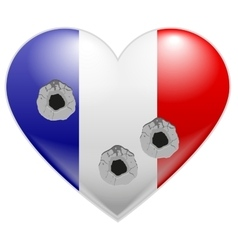 Bullet holes in heart of French flag vector image