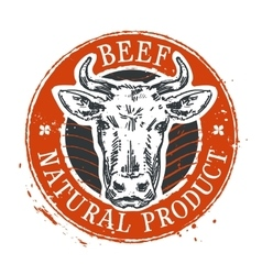 cow logo design template beef or farm icon vector image