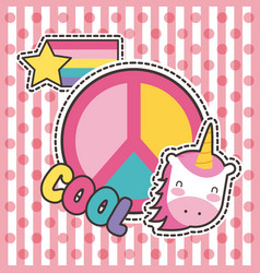 cute patches badge unicorn cool peace fashion vector image