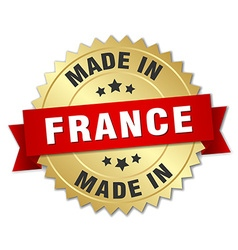 made in France gold badge with red ribbon vector image vector image