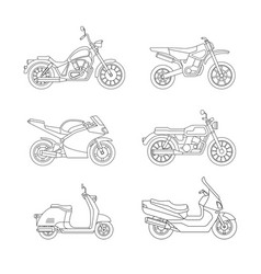 motorcycle and scooter line icons set vector image