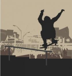 skater Ollie handrail vector image vector image