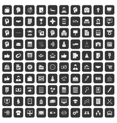 100 business strategy icons set black vector image