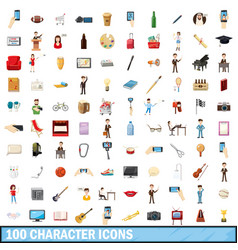 100 character icons set cartoon style vector