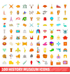 100 history museum icons set cartoon style vector image
