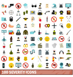 100 severity icons set flat style vector image