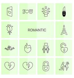 14 romantic icons vector