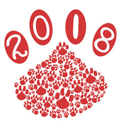 2018 dog year with dog paws background vector