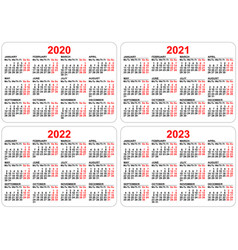 2020 2021 2022 2023 years set pocket calendar vector image