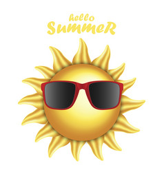 3d realistic sun with sunglasses vector image