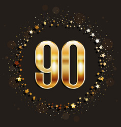90 years anniversary gold banner vector image