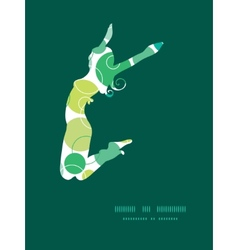 Abstract green circles jumping girl vector