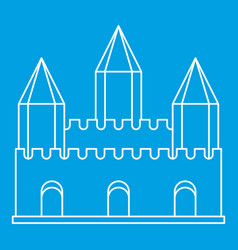 Ancient fort with towers icon outline style vector