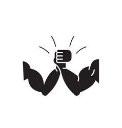 Arm-wrestling black concept icon arm vector