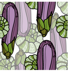 aubergine and pattypan squash seamless pattern vector image