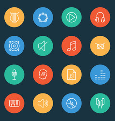 audio icons line style set with tambourine piano vector image