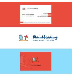 Beautiful graveyard logo and business card vector