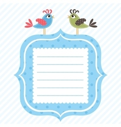 blue frame with two cute birds vector image