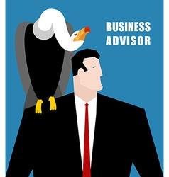Business Advisor Vulture sits on shoulder of vector image