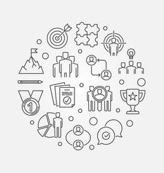 Business leadership round outline vector