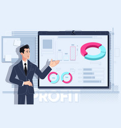 business man making a presentation at office vector image