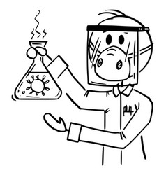 Cartoon scientist wearing face mask and shield vector