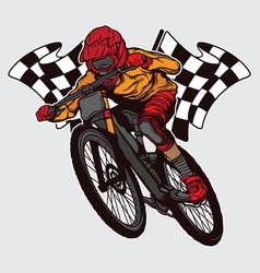 Champion downhill mountain bike design vector