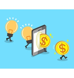 Change bulb idea to money with smartphone vector