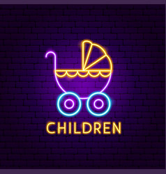 children neon label vector image