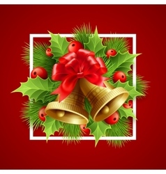 Christmas decoration with evergreen trees holly vector image