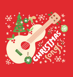 christmas songs guitar on red background vector image