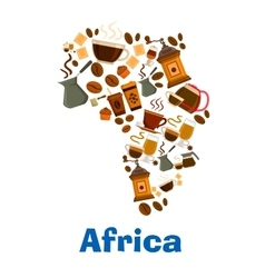 coffee pattern in shape africa continent vector image