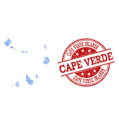 Collage map of cape verde islands with connected vector