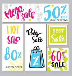 Collection of mega sale background vector