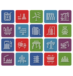 collection rounded square dotted icons vector image