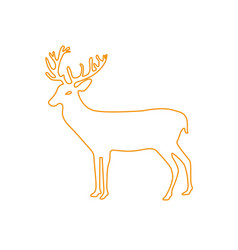 Color line reindeer animal to merry christmas vector
