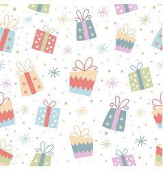colorful seamless pattern with gifts vector image