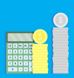 Count money with calculator vector