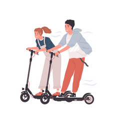 couple happy teenagers riding electric walk vector image