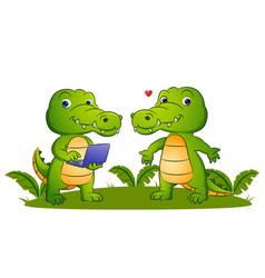 Couple smart crocodile is holding vector