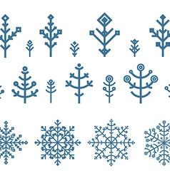 Different snowflake elements set Design template vector