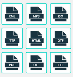 file icons set with ttf exe iso and other xml vector image