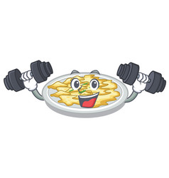 fitness scrambled egg put above cartoon plate vector image