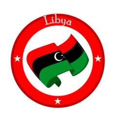 Flag of libya on a label vector