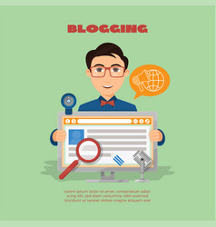 Flat composition with male blogger and computer vector