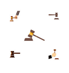 flat icon hammer set of government building court vector image