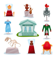 Flat set of museum exhibits golden crown vector