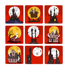 flat set of scary castles with full moon vector image