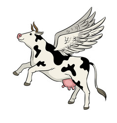 Flying cow farm animal pop art vector